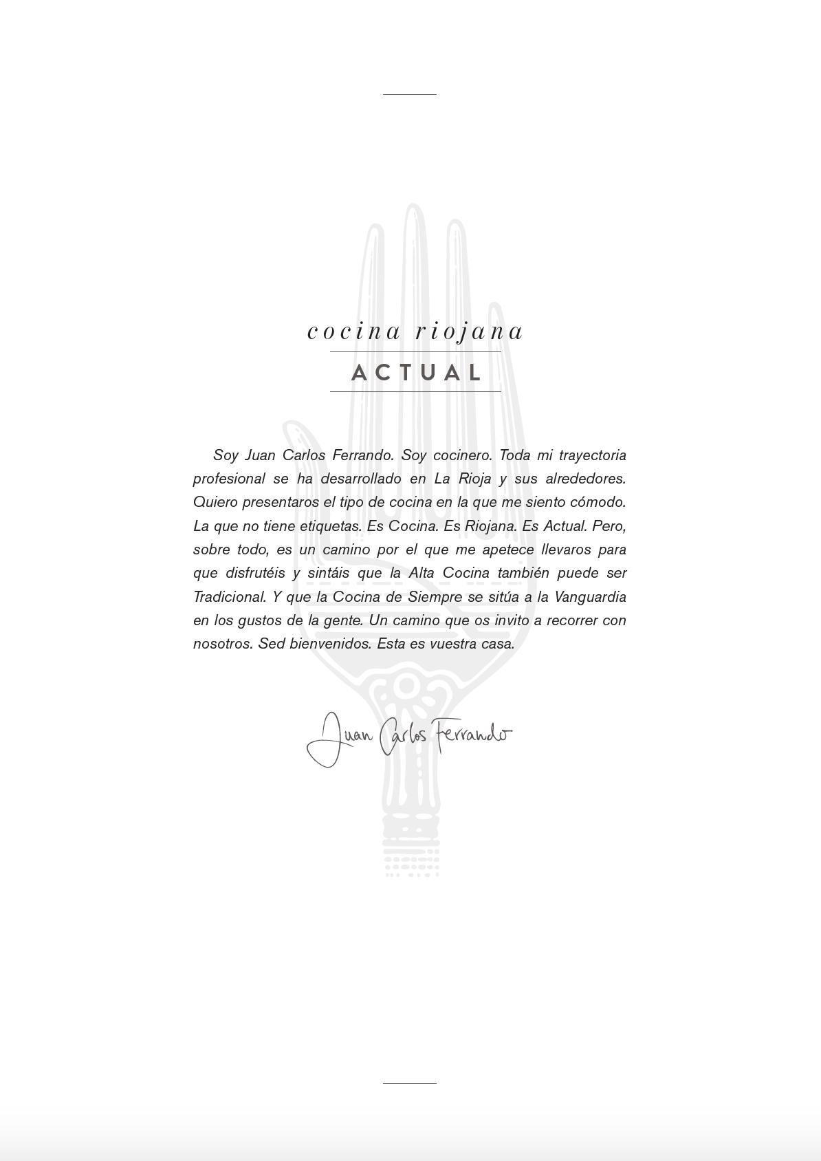 Carta Restaurante Juan Carlos Ferrando