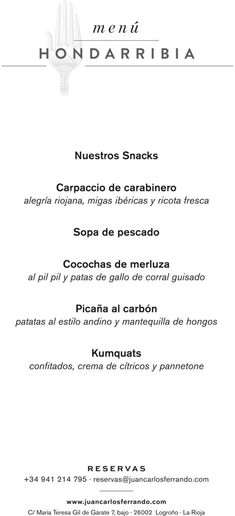 Menú Hondarribia en Restaurante Juan Carlos Ferrando